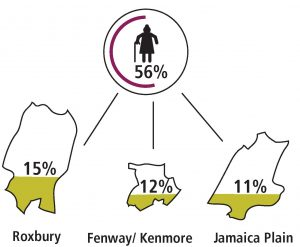 Women represent 56% of BMMP clients with the heaviest concentrations in Roxbury (15%), Jamaica Plain (11%) and Fenway/Kenmore (12%).